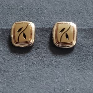 Two Toned Square Leaf Clip On Earrings